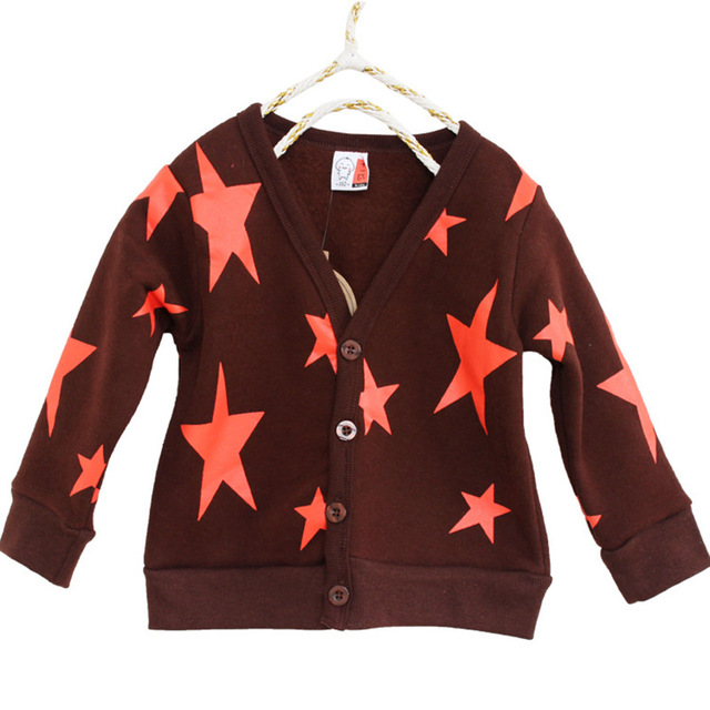 2015 Hot & new Autumn Spring cotton kids stars printed sweater candy-colored cardigan boys girls cardigan children outwear coat