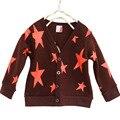 2015 otoño caliente y nuevo de primavera cotton kids estrellas impreso suéter chaqueta de punto color caramelo las muchachas de la rebeca niños outwear abrigo