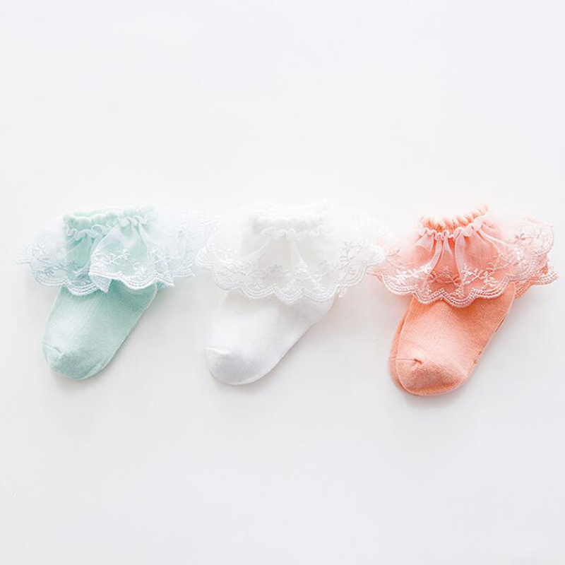 3 Pair Cute Newborn Baby Child Cotton Solid Color Candy Color Princess Big Lace Lace Dance Breathable Short Mesh Sock Girl Gift