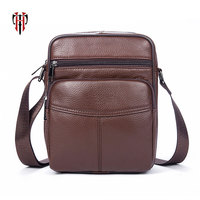 TIANHOO sac a main Genuine Leather men bags vintage style Litchi pattern crossbody messenger bag for men mini pockets