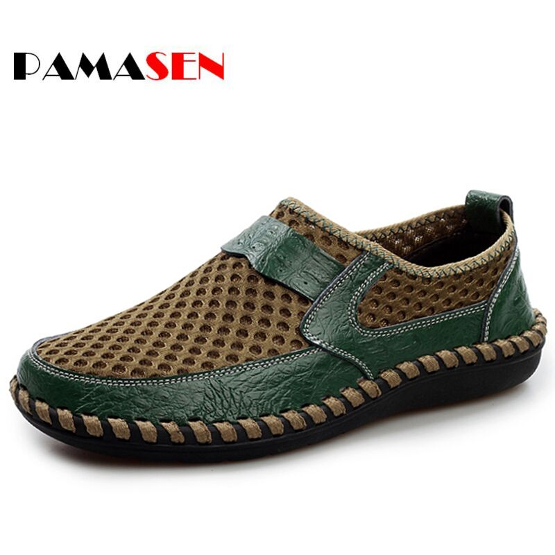 PAMASEN Summer Breathable Shoes Mens Casual Shoes Genuine Leather Slip-On Lazy shoes Fashion Summer Shoes Man Soft Comfortable goodster man shoes slip on genuine leather shoes soft bottom leather breathable and comfortable men casual shoes drive