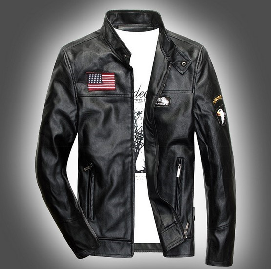 Us Army Style Autumn Winter Male Pilot Leather Bomber Jacket Mens