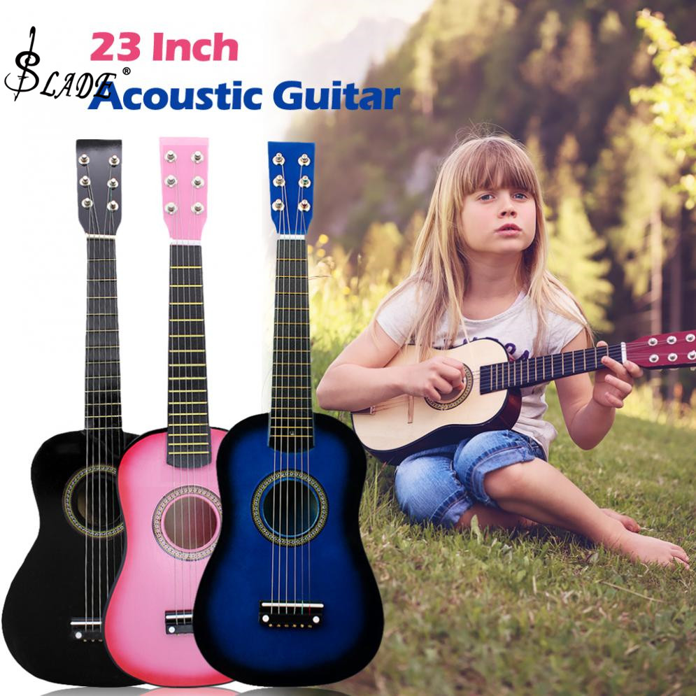 SLADE 23 Inch Black Basswood Acoustic Guitar Musical Instruments with Guitar Pick Wire Strings Gift for Children Beginners