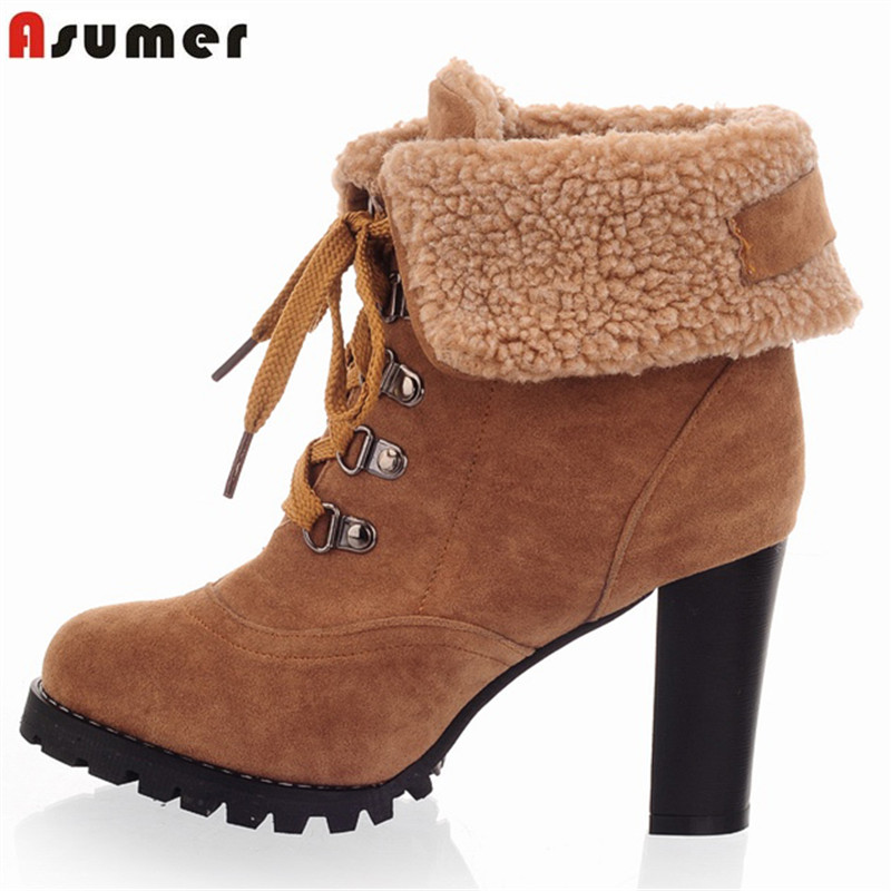 ASUMER new fashion thick high heels warm snow boots lace up fur inside women's ankle boots platform shoes woman 11cm heels 2013 new winter high platform soled high heeled snow boots female side zipper rabbit fur thick heels snow shoes h1852