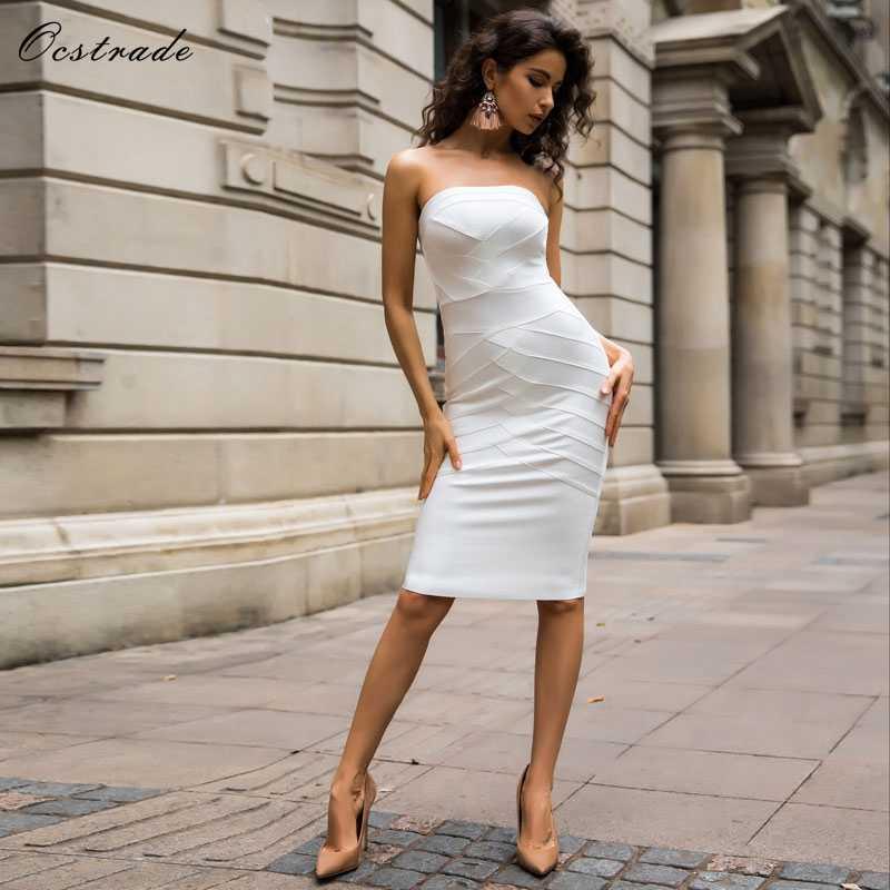 Ocstrade Sexy blanc robe de pansement 2019 nouveautés sans bretelles haute qualité noir femmes robe de soirée moulante pansement robe Midi XL