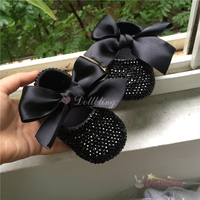 Dollbling Bontique Black Rhinestones Baby Fantasy Shoes Limited Edition Custom For Buyer Luxury Princess 0 1