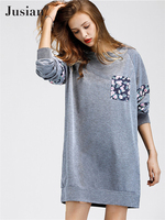 Jusian Women S Fashion Casual O Neck Long Sleeve Loose Thickening Dress Solid Color Lantern Sleeve