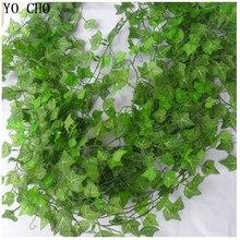 (12 pcs/lot) 240cm Special offer simulation ivy/green ivy leaf for/Green cane/creepers Chlorophytum/plastic rattan vine leaves