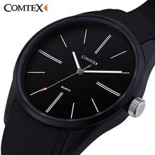 COMTEX Marque Hommes Montre Grand Cadran Montre-Bracelet Affichage Analogique Mouvement À Quartz Sport Montres Hommes Bracelet En Silicone Noir Horloge