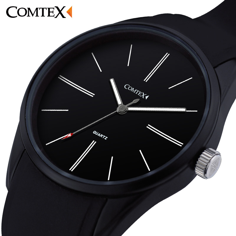 ФОТО COMTEX Brand Men Watch Large Dial Face Wrist Watch Analog Display Quartz Movement Sports Watch Silicone Rubber Strap Pin Buckle