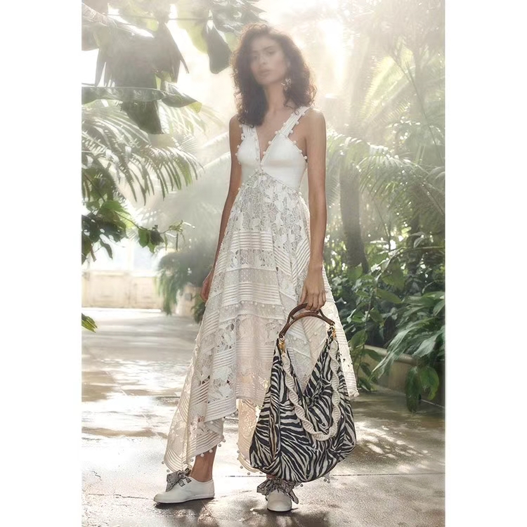 Runway Dresses 2018 Women High Quality White Hollow Out Lace Embroidery Irregular Long Dress Strapless Holiday Bohemian Dress