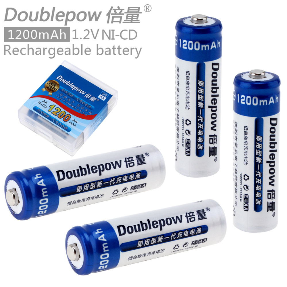 New Arrival 4pcs Doublepow LSD AA Battery 1200mAh 1.2V Rechargeable Ni-CD Batteries with 1200 Cycle new arrival 4pcs pkcell 1 2v aa ni mh 2600mah lsd rechargeable batteries high capacity pre charged batteries set with 1200 cycle
