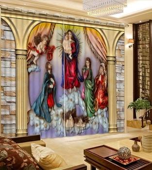 High quality custom 3d curtain fabric angel curtains