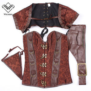 Image 4 - Corsets and Bustiers Slimming Steampunk Corset Gothic Brown Corsages Sexy  PU Leather Buckle Belly Slimming Sheath S 6XL