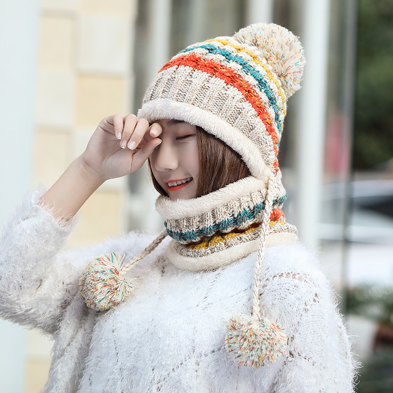 HT2084 Women Winter Hat Scarf Thick Warm Beanie Hat With Braids Big Pompon Ball Ski Earflap Hat With Scarf Knitted Hat Scarf Set