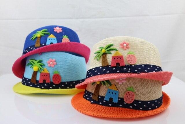 88d73766a6793 Cute Kids Hat Straw Beach Boonie Travel Leisure Brim Colourful Hat Sunshade  Cap