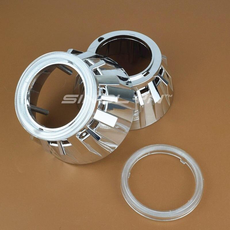 Высокая Температура стойкое хромированное отделка проектор пушки Гатлинга кожухи маска вытяжки + PC для 2,5 дюймов WST Биксенон объектив проек...