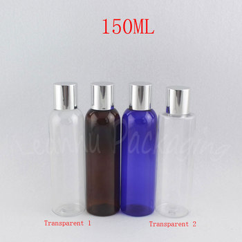 150ML Empty Plastic Bottle With Silver Screw Cap , 150CC Empty Cosmetic Container , Makeup Water / Lotion Sub-bottling