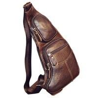 Высокое качество для мужчин пояса из натуральной кожи Винтаж Слинг Грудь Back Day Pack Путешествия Мода крест средства ухода за кожей сумка