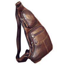 عالية الجودة الرجال جلد البقر الحقيقي Vintage الرافعة الصدر الظهر يوم حزمة السفر موضة عبر الجسم رسول حقيبة كتف
