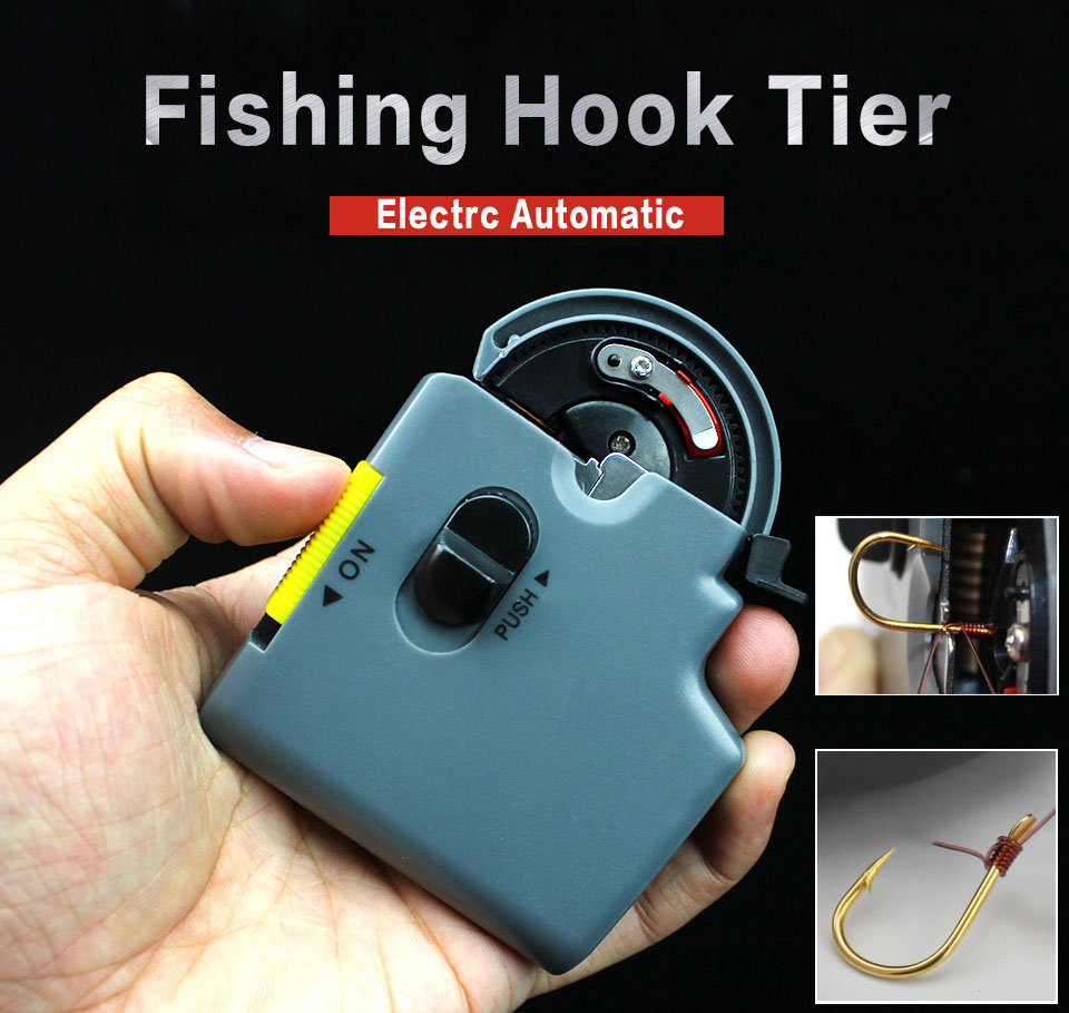 LILLIANFISH Portable Electric Automatic Fishing Hook Tier Machine Fishing Accessories Tie Fast Fishing Hooks Line Tying Device