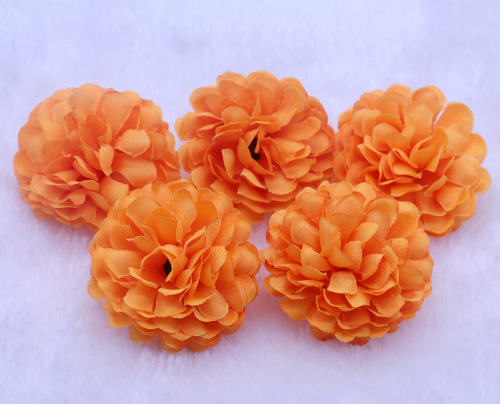 Wholesale 50pcslot 5cm orange color ball daisy artificial silk wholesale 50pcslot 5cm orange color ball daisy artificial silk flowers heads wedding party home diy decoration craft floral in artificial dried flowers mightylinksfo