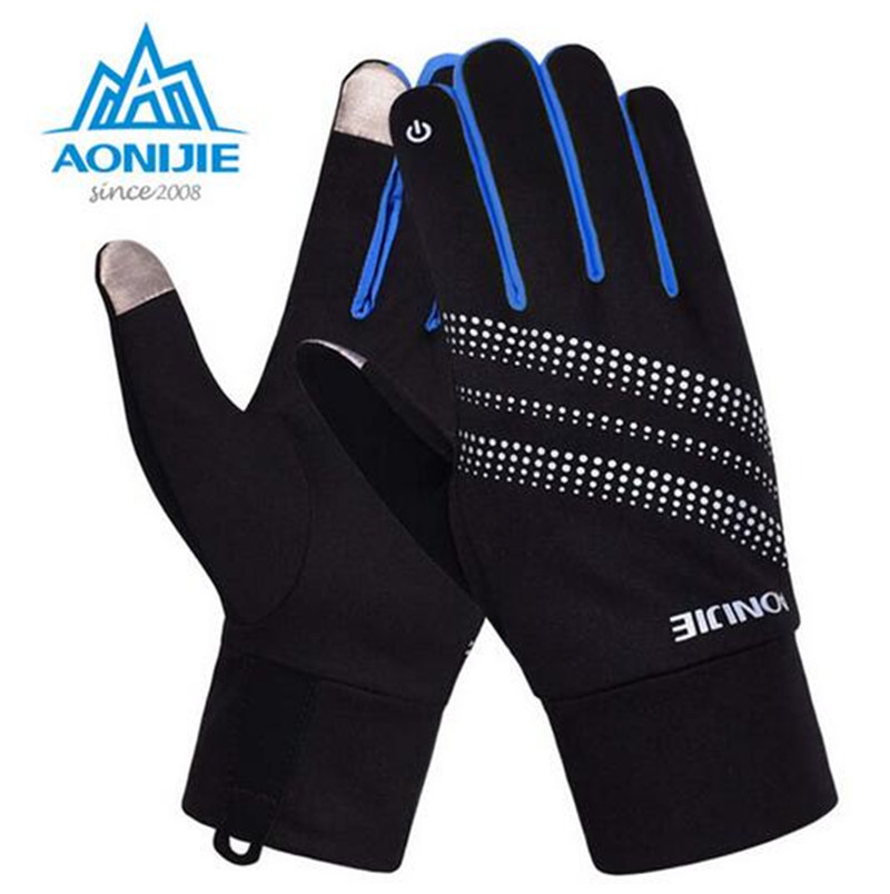 AONIJIE Men Women Outdoor Sports Skiing Gloves Winter Warm Windproof Cycling Running Hiking Motorcycle Full Finger Gloves