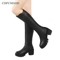 CDPUNDARI Round Toe Knee High boots women Winter Snow boots shoes Ladies High heels Platform boots black