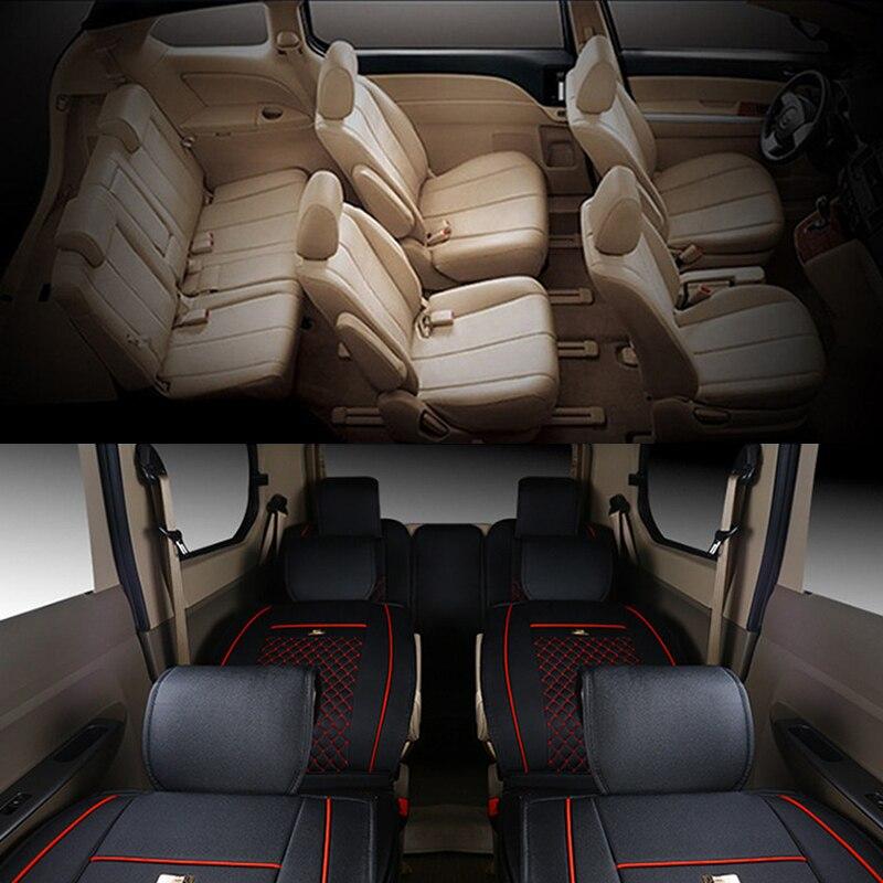 Kit de criques de siège auto en cuir synthétique polyuréthane de luxe avant + milieu + arrière 7 housses de siège de voiture pour MPV HONDA Elysion/GL8 etc.