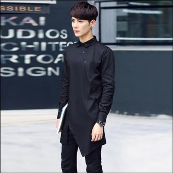 M-4xl New 2020 Men's Plus Size Clothing Summer Tide Fashion Shirt Asymmetrical Slim Long-sleeve Shirt Stage Singer Costumes