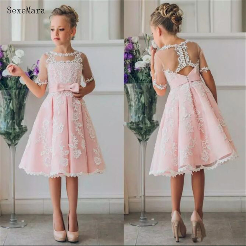 Cheap Flower Girl Dresses for Bohemia Beach Wedding Knee Length Lace Formal Wear Birthday Party Dresses with Bow Princess Dress