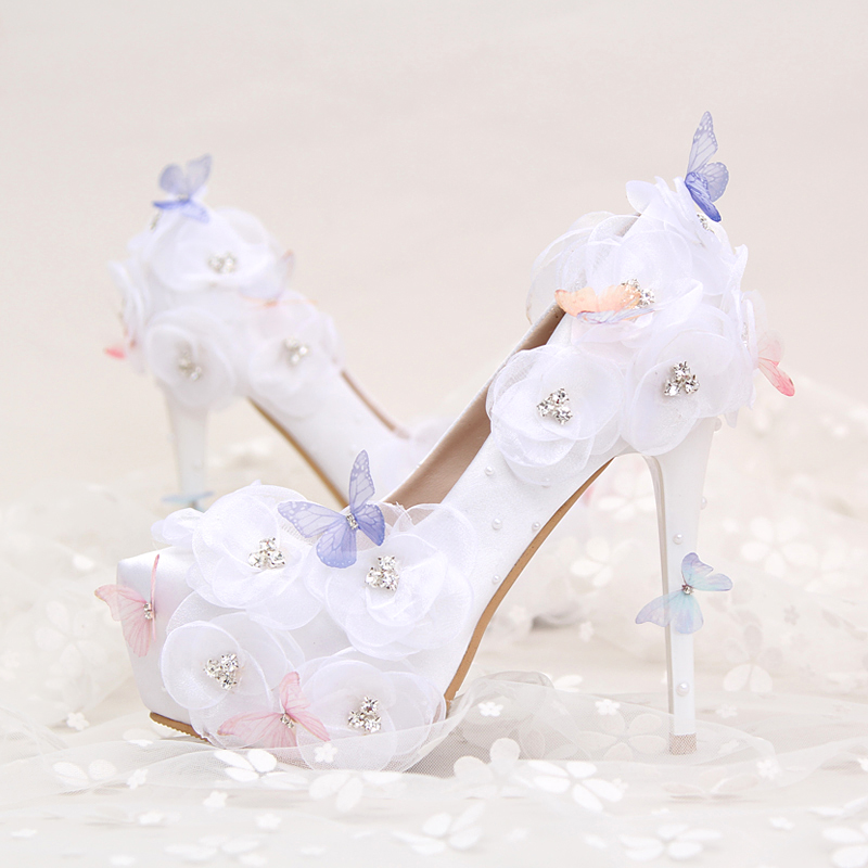 2017 White Satin Flower Butterfly Diamond Bride Shoes Sexy Pointed Paltform Diamond High Heels Women Wedding Shoes Party Pumps the new 2017 white satin high with the bride shoes waterproof slipper wedding shoes picture taken single shoes for women s shoes