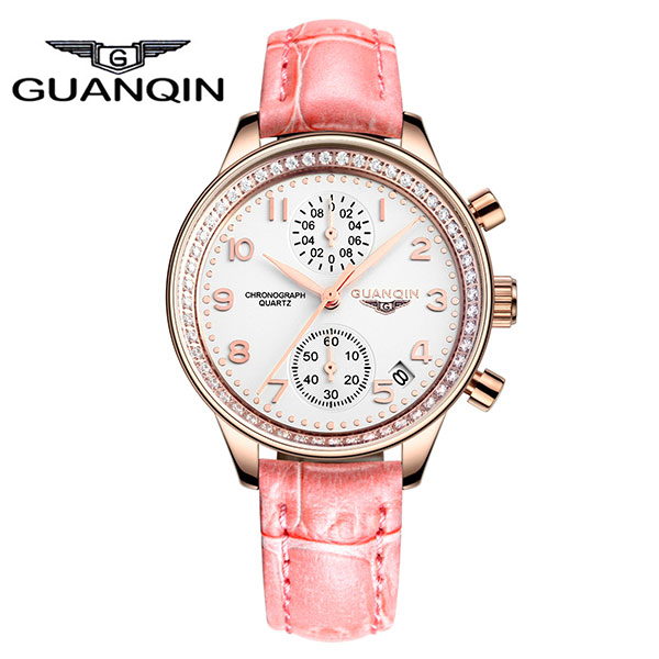 GUANQIN GQ15008 lady Chronograph 2017 fashion casual watch women crown genuine Sapphire waterproof quartz female watches seiko watch premier series sapphire chronograph quartz men s watch snde23p1