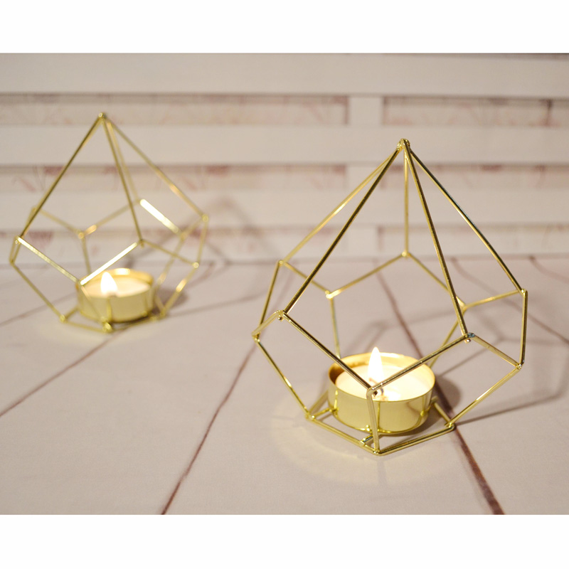 Estilo Europeo candelabro forma del diamante Mesa candelabros adorno ...