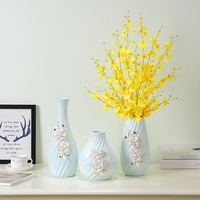 Modern minimalist porcelain Blue vase White pinch Art vases floor living room fashion decor crafts ornaments home decorations