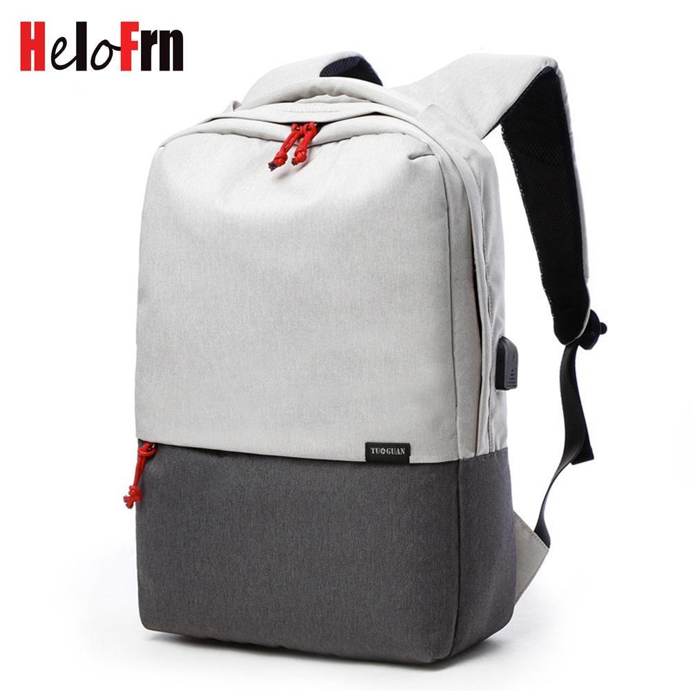 HeloFrn Simple Men Backpack Laptop USB Charging Teenager Canvas College Student Bag Computer Male Bagpack