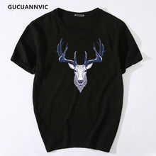 Lovely cartoon printed t shirt men round neck loose cotton short-sleeved 2017 summer loose youth slim all-match popular t shirt
