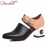 2017 New Sexy Pointed Toe High Heel Women Pumps Genuine Leather Spring Summer Shoes Woman Fashion