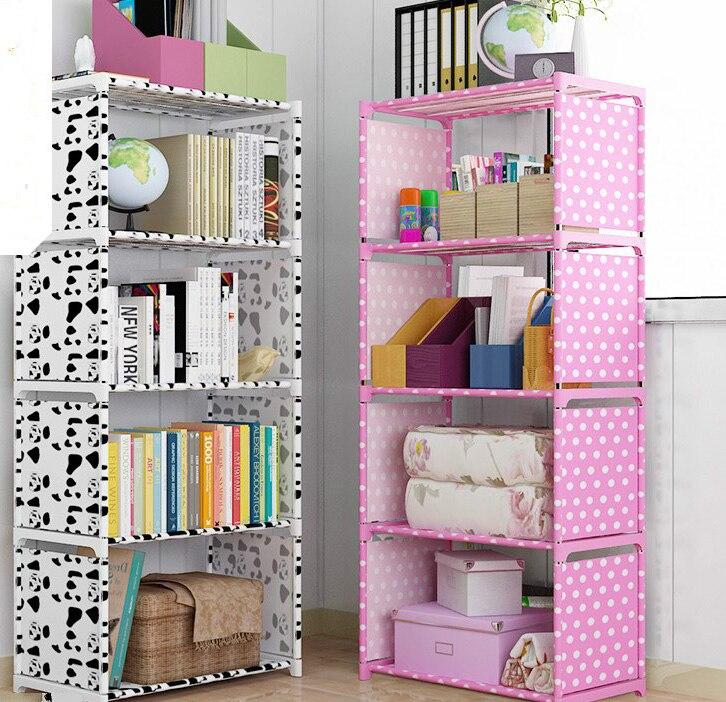 Non woven Iron Tube Bookshelves 4 layer Dormitory Bedroom Storage Shelves Bookcase Rack 125cmx41cmx31cm Boekenkast Librero B440