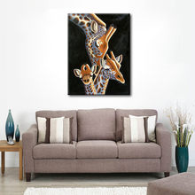 Modern Baby Giraffe Abstract Art Hang Pictures Handpainted Giraffe Family Animal Oil Paintings On Canvas Wall Picture Home Decor(China)