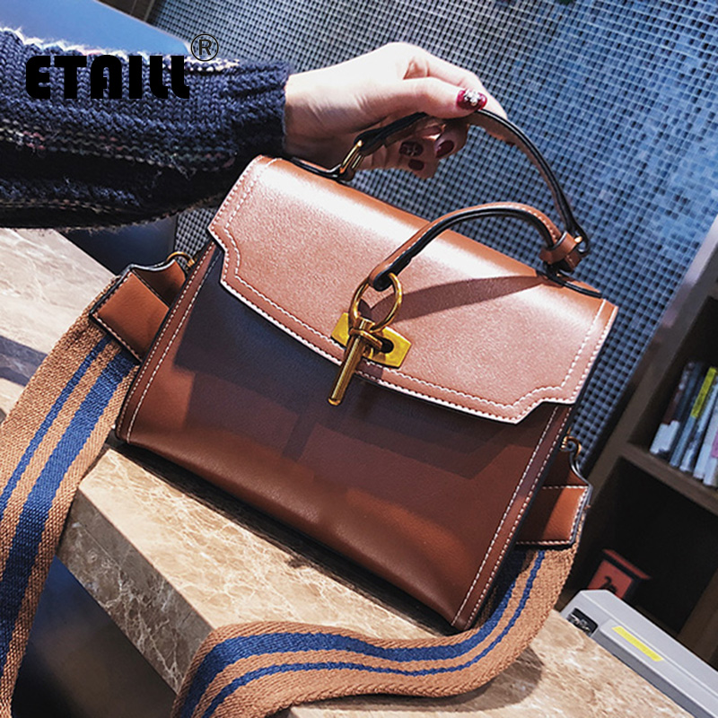 ETAILL Smooth Pu Leather Women Bag Fashion Single Stripe Wide Strap Crossbody Bag Top Handle Messenger Shoulder Bag with Key