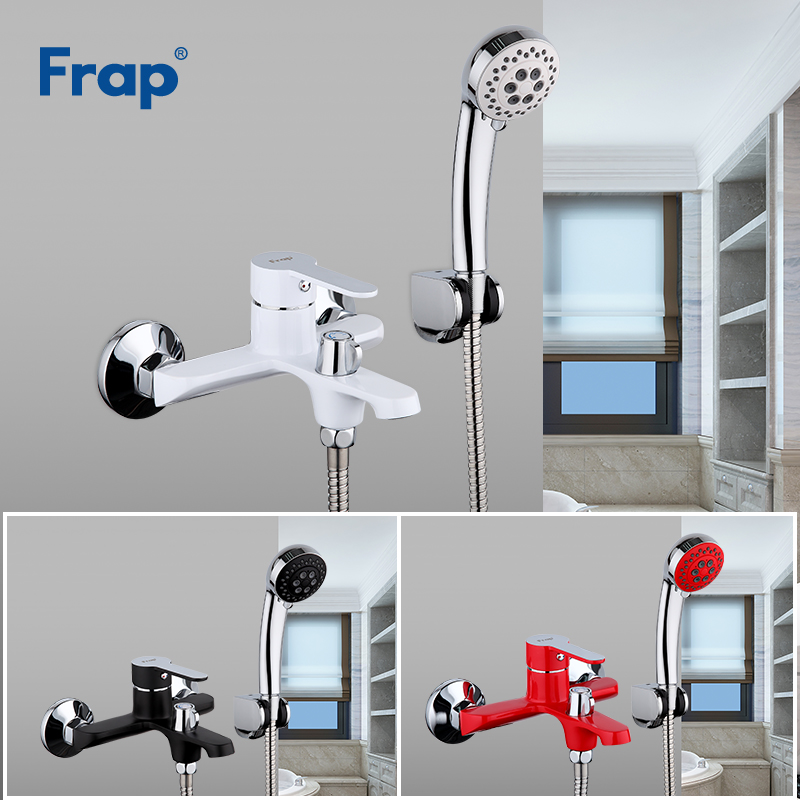 FRAP Bathtub Faucets Multi-color Bathroom Shower Brass Chrome Wall Mounted Bath Shower Mixer Tap Shower Head Set Black White Red