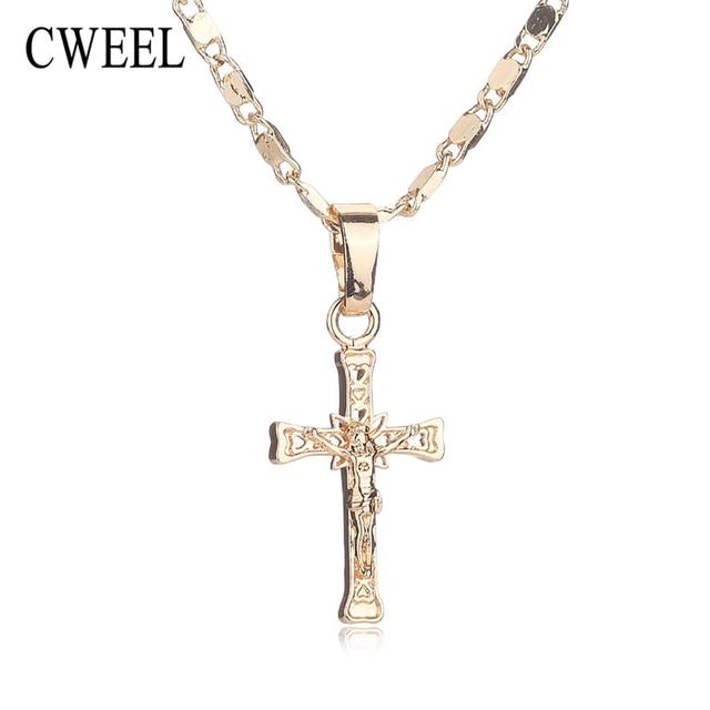CWEEL Trendy New Gold Color Jesus Necklace For Women Jewelry Men ...