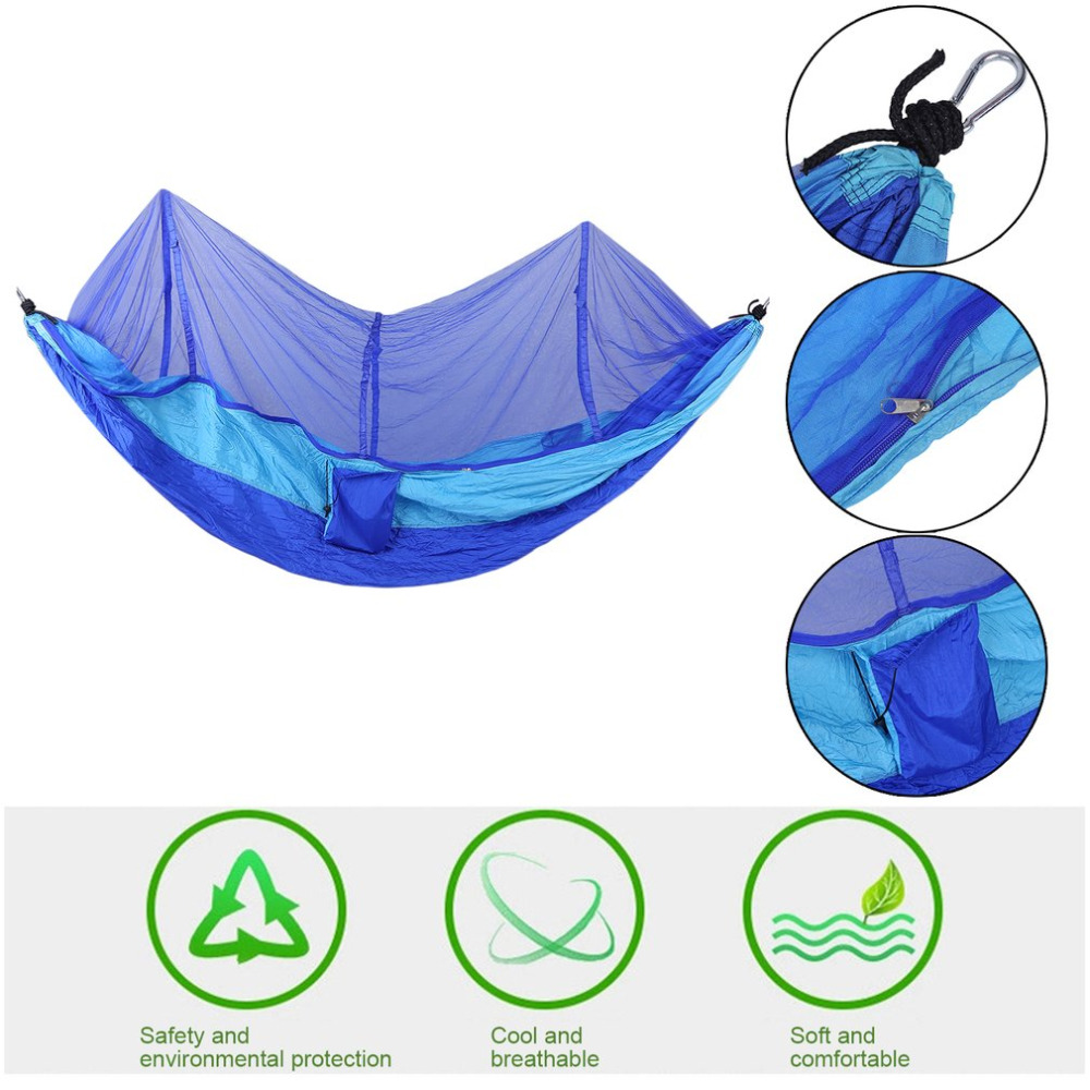 260x130cm Portable Lightweight Tent Parachute Fabric Outdoor Hiking Camping Sleeping Hammock Hanging Bed With Mosquito Net 2 people portable parachute hammock outdoor survival camping hammocks garden leisure travel double hanging swing 2 6m 1 4m 3m 2m