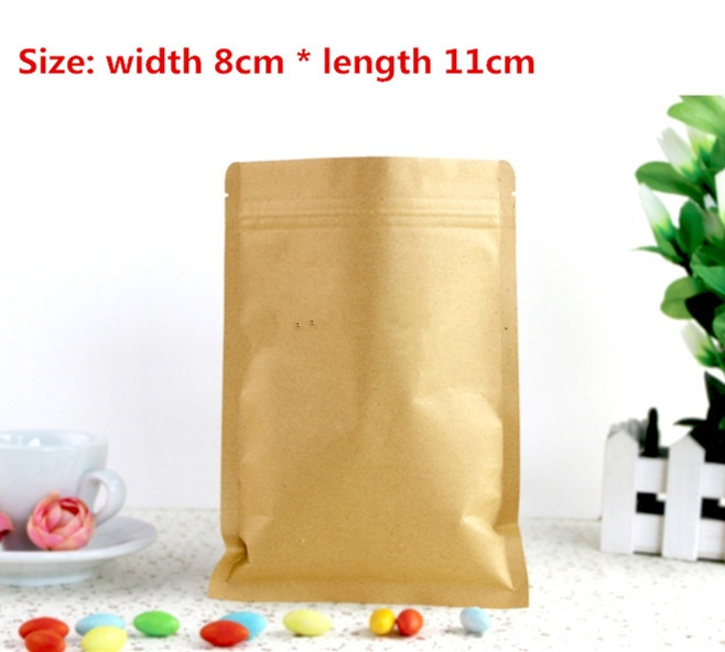 100pcs/lot-8*11cm Small Size Kraft Paper Bag with Aluminum Foil Coated Inner Coffee Tea  ...