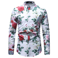 Flower Print Shirt Men Camisa Floral Masculina 2018 Spring Autumn New Mens Casual Buttoned Dress Shirt Party Wear Shirts Male