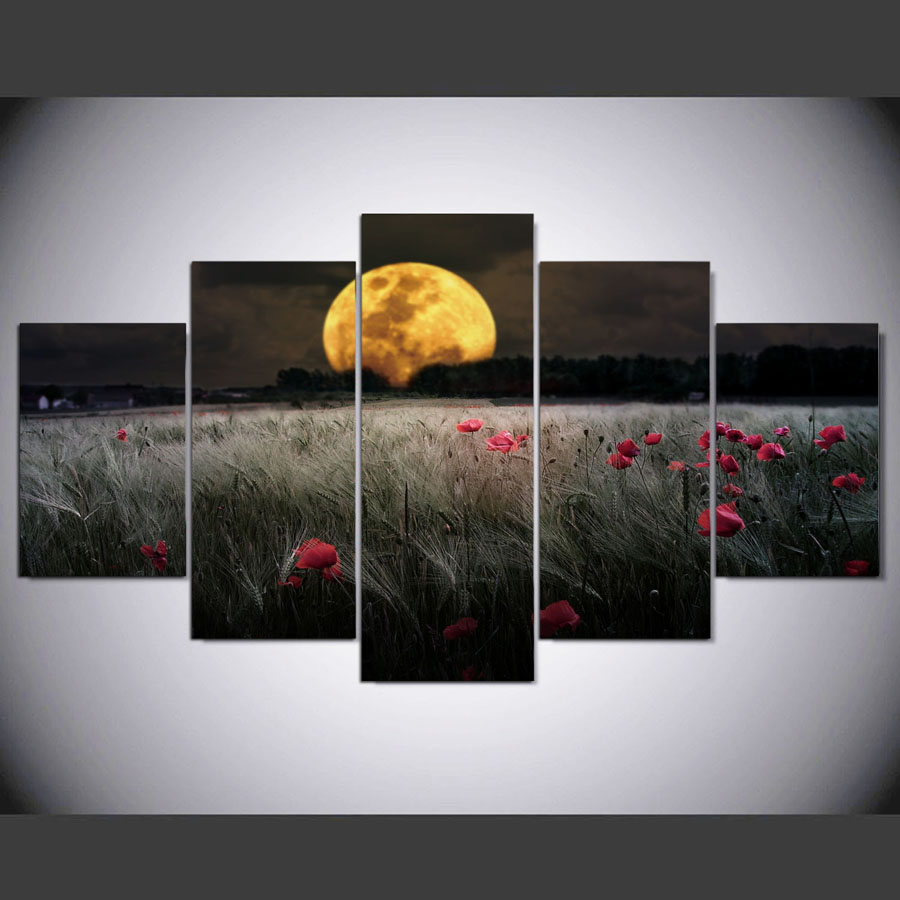 JIE DO ART 5 panel HD printed painting Fields of wildflowers canvas home decor wall art picture for living room
