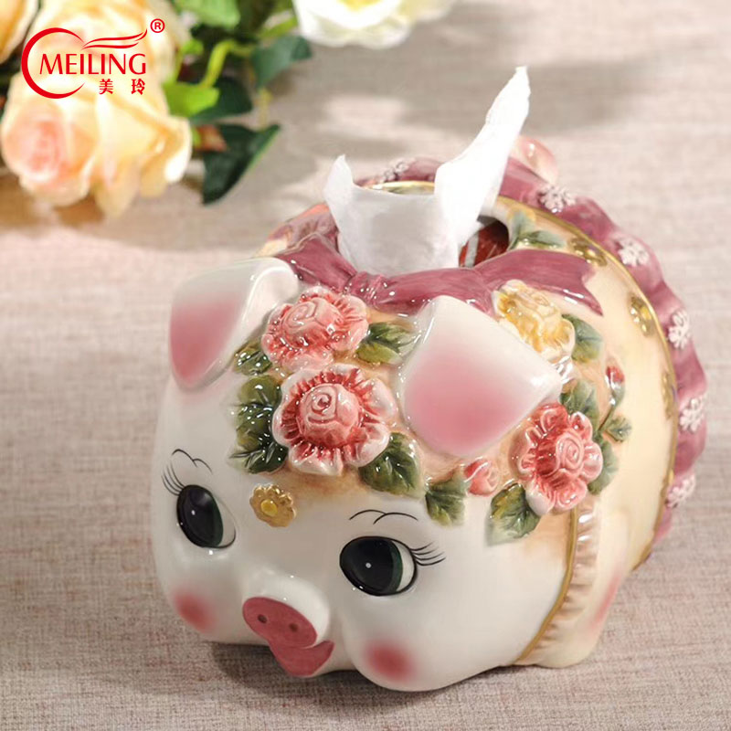 Cute Ceramic Pig Tissue Storage Box Bathroom Decor Lovely Tissue Paper Box Cover For Dining Table Office Wedding Home DecorationCute Ceramic Pig Tissue Storage Box Bathroom Decor Lovely Tissue Paper Box Cover For Dining Table Office Wedding Home Decoration