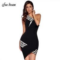 2017 Summer New Women Fashion Sleeveless Stand Neck Bandage Dress Sexy Bodycon Geometric Evening Party Black