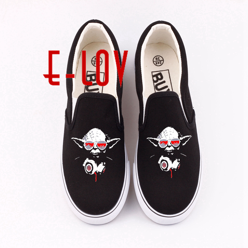 Star Wars Printed Women Girls Canvas Shoes Women Hip Hop Star Wars 3D Print Cartoon Casual Shoes Loafers Unisex Funny Flat Shoe